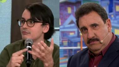 Dudu Camargo (à esquerda) e Ratinho (à direita) em foto montagem