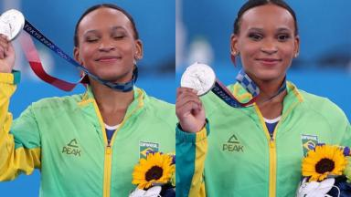 Rebeca Andrade mostra medalha de prata da competição de ginástica artística dos Jogos Olímpicos de Tóquio