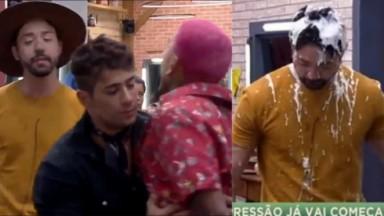 Rico Melquiades provoca Dynho Alves, que é segurado por Tiago Piquilo em A Fazenda 2021