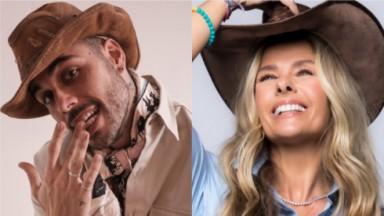 Gui Araújo e Adriane Galisteu posam com chapéu bem no estilo A Fazenda 2021