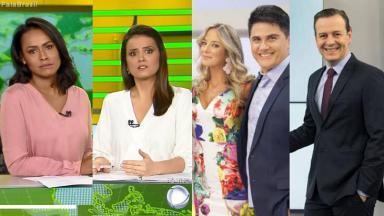 Montagem com a tela dividida entre o Balanço Geral Manhã, Fala Brasil e Hoje em Dia