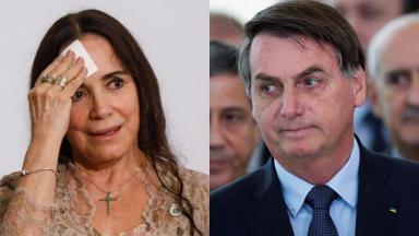 A atriz Regina Duarte e o presidente Jair Bolsonaro
