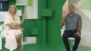 Renata Fan e Denilson nos estúdios do Jogo Aberto