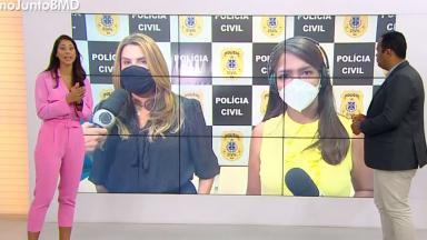 Jessica Senra irritada em estúdio, diante do telão em que aparece a repórter e a delegada dando entrevista para a Record