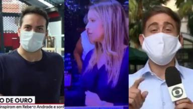 Montagem com os repórteres da Globo Diego Haidar, Cássia Carioca e Erick Rianelli