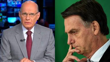 Ricardo Boechat (à esquerda) e Jair Bolsonaro (à direita) em foto montagem