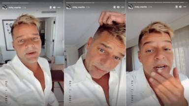 Montagem com Ricky Martin mostrando o rosto