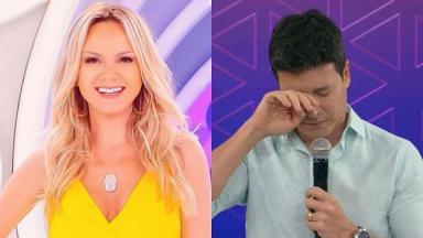 Eliana sorrindo (à esquerda) e Rodrigo Faro chorando (à direita) em foto montagem