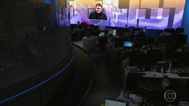 Foto de Rodrigo Rodrigues no telão do Jornal Nacional