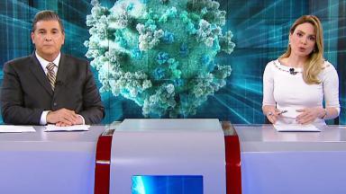 Carlos Nascimento e Rachel Sheherazade na bancada do SBT Brasil
