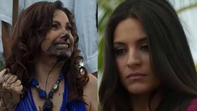 Cena de Coração Indomável com Maricruz vendo Lúcia com o rosto sujo de lama