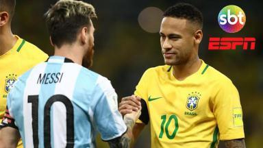 Messi e Neymar se enfrentando pelas seleções
