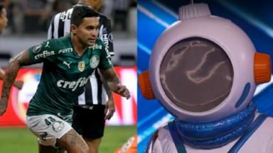 Dudu do Palmeiras e cena do The Masked Singer em foto montagem