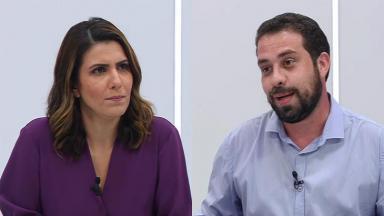 A apresentadora Sheila Magalhães e o candidato do PSOL a prefeito de São Paulo, Guilherme Boulos