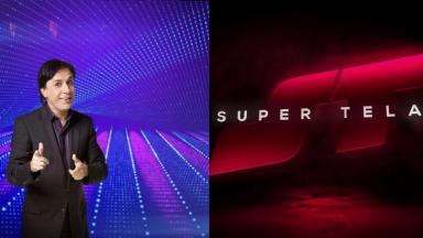 Tom Cavalcante e logotipo do Super Tela em foto montagem
