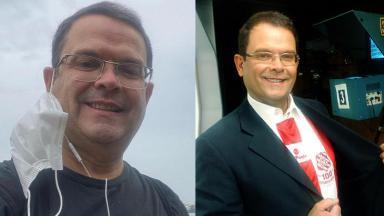Sidney Rezende na pandemia (à esquerda) e com a camisa do Bangu (à direita) em foto montagem