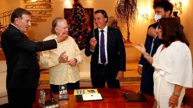 Floriano Peixoto Neto, Silvio Santos, Jair Bolsonaro, Fabio Faria e Iris Abravanel