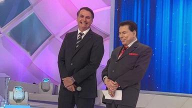 Silvio Santos e Jair Bolsonaro no Programa Silvio Santos no SBT