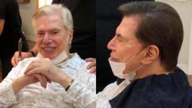 Silvio Santos, no salão do Jassa, cortando o cabelo e usando máscara de forma errada