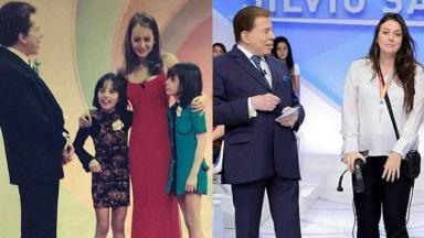 Gabriella Machado (de vestido azul) com Silvio Santos em 1999 e atualmente