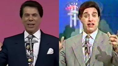 Silvio Santos e o humorista Oscar Pardini