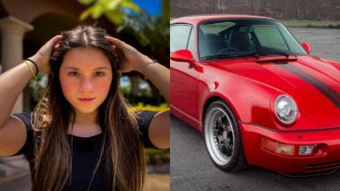 Montagem de Sofia Liberato, filha de Gugu e de um carro Porsche vermelho