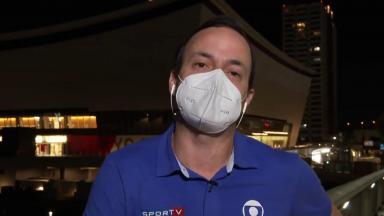 Tiago Medeiros chorando no SporTV