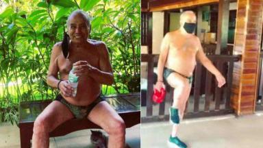 Stênio Garcia de sunga se exercitando