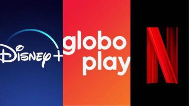 Logotipos do Globoplay, Disney+ e Netflix