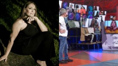 Susana Vieira sentada, com a mão no queixo e na tela, durante participação remota no Altas Horas, sendo observada por Serginho Groisman no estúdio do programa.