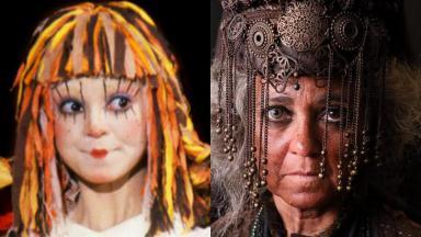 Suzana Abranches como Emília (à esquerda) e Feiticeira (à direita) em foto montagem