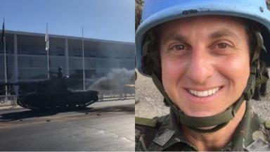 Tanque de guerra (à esquerda) e Luciano Huck (à direita) em foto montagem