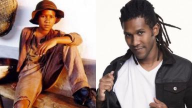 André Luiz Miranda aos 12 anos, em cena de Terra Nostra, e hoje, aos 33