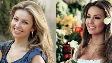 Thalía antes e depois de Rosalinda em foto montagem