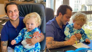 Montagem de fotos de Thamy Miranda com o filho Bento no colo, olhando para a câmera, e desenhando e olhando para uma folha de papel em uma mesa com o filho no colo
