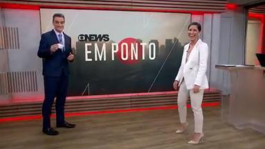 Tiago Scheuer aparece de máscara no telejornal Em Ponto