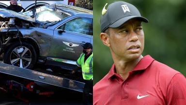 Carro de Tiger Woods quebrado (à esquerda) e Tiger Woods jogando golfe (à direita) em foto montagem