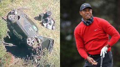 Tiger Woods e o carro tombado no acidente