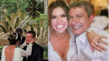 Montagem com o casamento de Tom Veiga, o Louro José