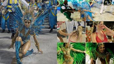 Relembre as famosas que ficaram marcadas por tombos durante o Carnaval