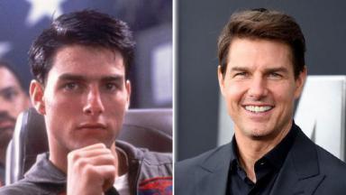Tom Cruise antes e depois em Top Gun