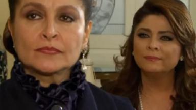 Cena de Triunfo do Amor com Bernarda de costas para Vitória, que olha para ela