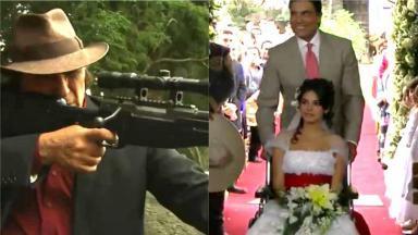 Montagem de cenas de Triunfo do Amor com Padilha segurando uma metralhadora e Fernanda vestida de noiva entrando na igreja de cadeira de rodas