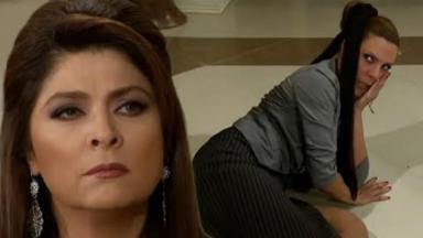 Cena de Triunfo do Amor com Vitória com cara de brava e Leandra caída no chão com a mão no rosto