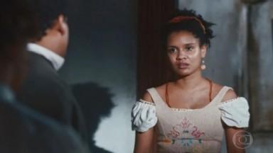 Zayla encara Samuel em cena de Nos Tempos do Imperador