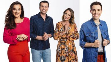 Daniela Espíndola, Irmão Alan Patrick Zuccherato com Jéssica Fernandes e Rogério Chiaravalli, apresentadores da nova programação da TV Aparecida