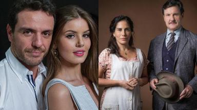 Tela dividida entre Verdades Secretas, com Angel matando seu amante e Éramos Seis, com Lola e seu marido lado a lado