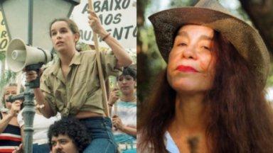 À esquerda, Lucélia Santos como a operária e líder sindical Silvana da novela Vereda Tropical; à direita, a atriz posa para foto aos 64 anos