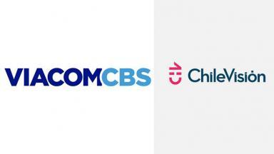 Logotipo da ViacomCBS (à esquerda) e logotipo do Chilevision (à direita) em foto montagem