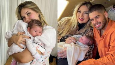 Montagem de fotos com Virgínia Fonseca segurando a filha Maria Alice e ao lado de Zé Felipe com a bebê no colo